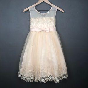 Champagne Sleeveless Princess Flower Girl Dress